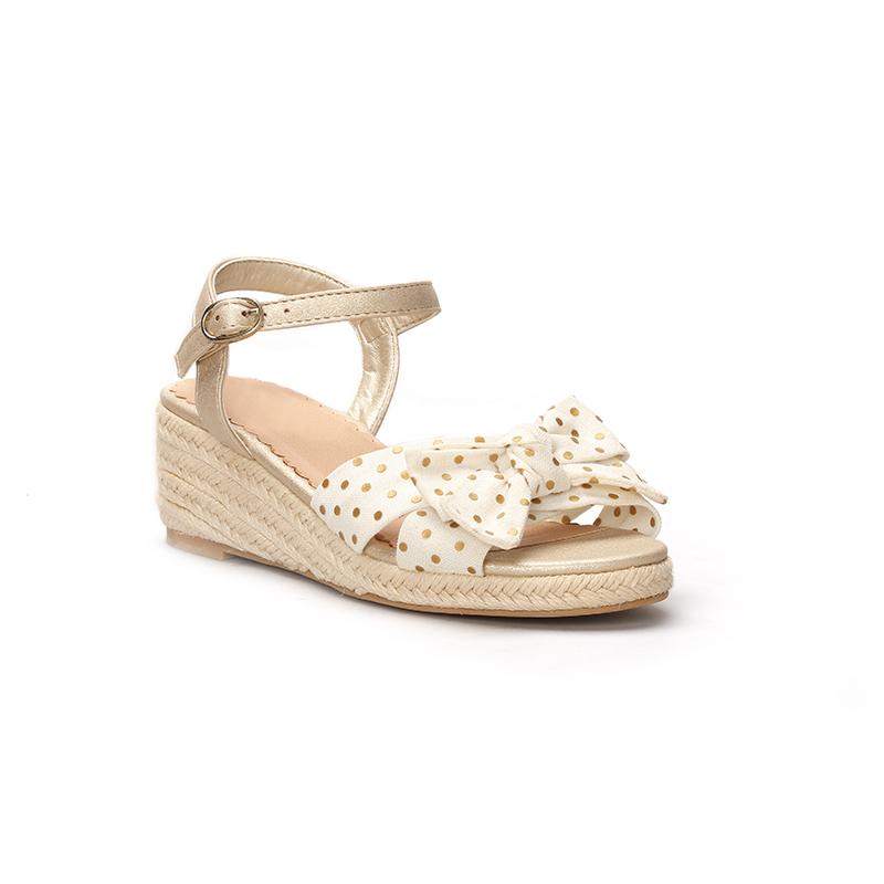2021 модные дизайнерские босоножки в горошек с бантом для девочек на танкетке, детская обувь