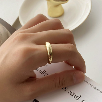 VIANRLA 925 sterling silver minimalist 18k shinny gold plated jewelry stacking adjustable ring