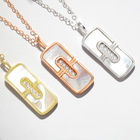 Sterling Shell Pendant 925 Sterling Silver Necklace Square Shape Shell Pendant 1 Mc Rose Gold Or Gold Or Rhodium Plating