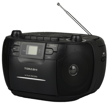 Top loading CD player with cass and radio
