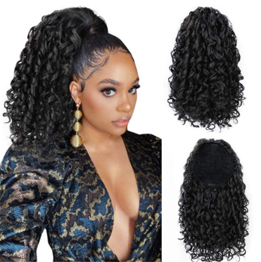Wig Female African Small Curly Ponytail Chemical Fiber Stretch Mesh Ponytail Wig Ponytail
