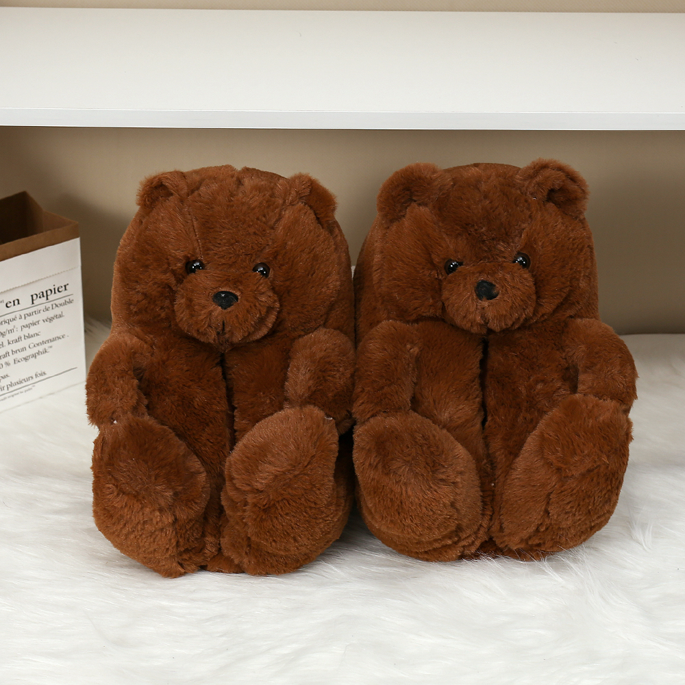 Новинка 2021 года; Дизайнерские недорогие тапочки с медведем; Модная домашняя женская обувь; Женские домашние пушистые плюшевые тапочки с животными