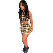 ANJAMANOR желтый клетчатый принт сексуальный комплект из 2 предметов женские летние одинаковые комплекты Клубная одежда короткий топ и юбка кор...(Китай)