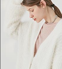 Оптовая продажа, модное зимнее пальто, женский кардиган, свитер, Женское пальто из ангоры, дизайн, глубокий v-образный вырез, жемчужные пуговицы, модные женские пальто