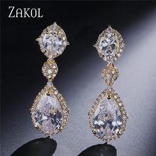 ZAKOL новый элегантный AAA кубический цирконий каплевидные свисающие серьги, Кристалл Длинные украшения для свадьбы для невест FSEP2034(Китай)