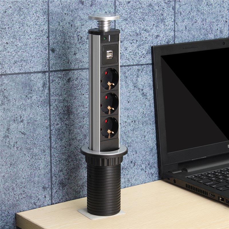 1.8m 16A 3 Power EU Plug Socket 2 USB Charging Port Kitchen Table Desktop Sockets Retractable Countertops Work top outlet socket