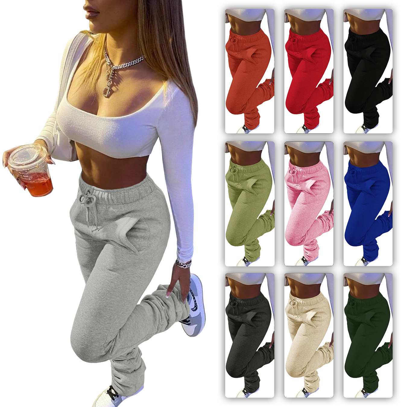 Casual Workout Trousers Loose Harem Pants Drawstring Sports Sweatpants 2021 Women Stacked Pants