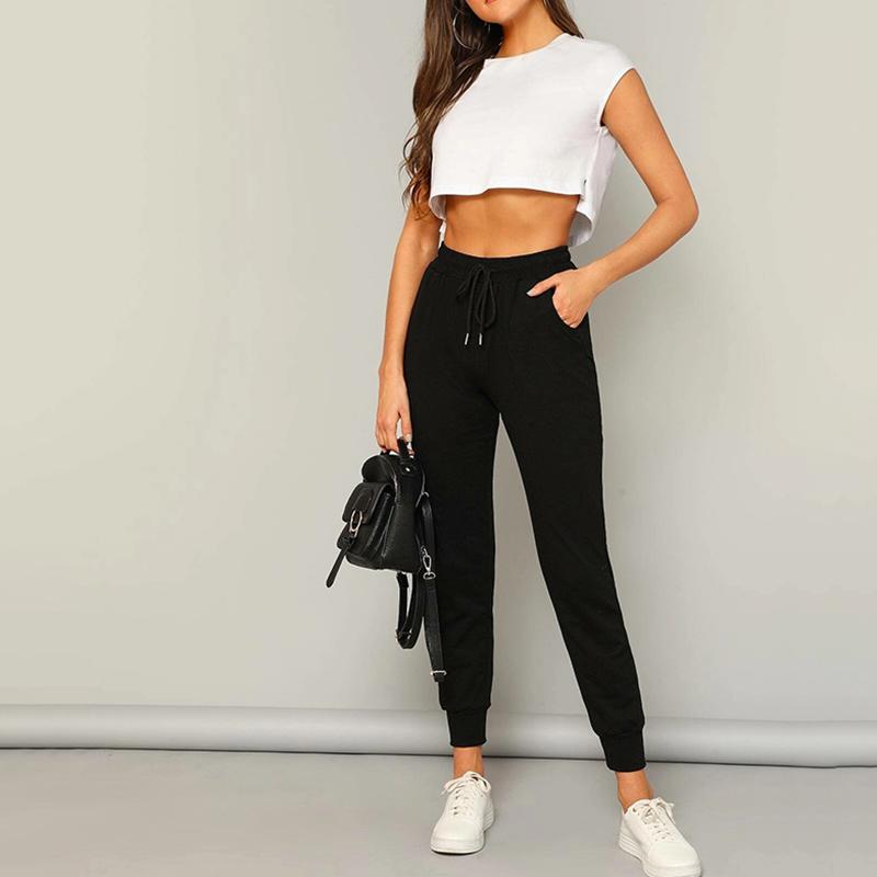 Weixin Mujeres Ropa Shein Corbata Cintura Pantalones Tapered Buy 2 Pieza Pantalones De Pantalones Mujer Product On Alibaba Com