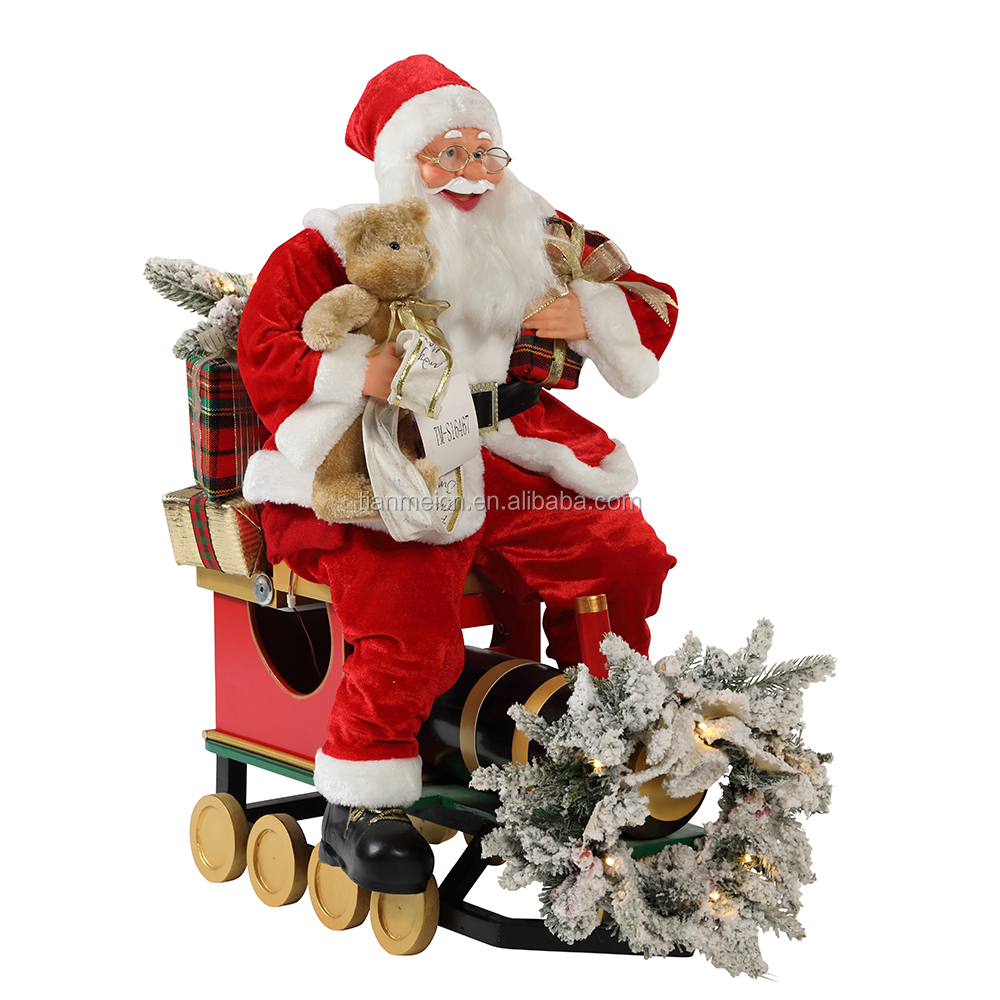 60/90cm Christmas train Santa Claus with Lighting Ornament Decoration Festival Holiday Figurine Collection Traditional Xmas
