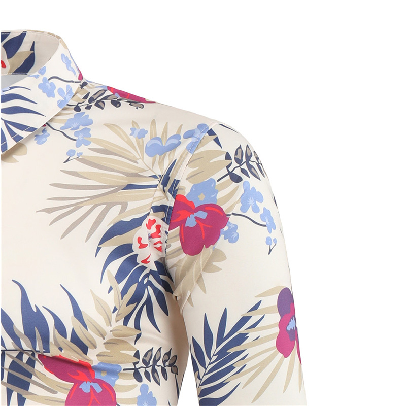 Free label Man Shirts 2021 Fashion Printed Long Sleeve Plus Size Casual Shirts Hawaiian Chemise Homme Factory low price