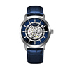 Silver case, blue dial, blue leather