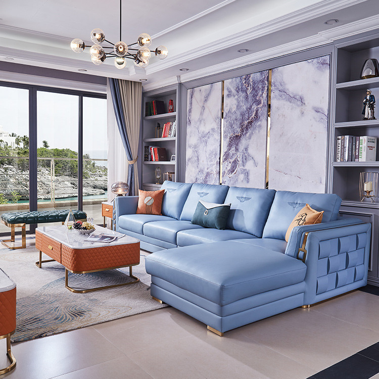 Factory Provided Modern Sectionals Luxury Living Room Furniture Leather Blue Sofa Set Buy Blue Sofa Set Blue Leather Sofa Set Sofa Set Furniture Living Room Blue Product On Alibaba Com