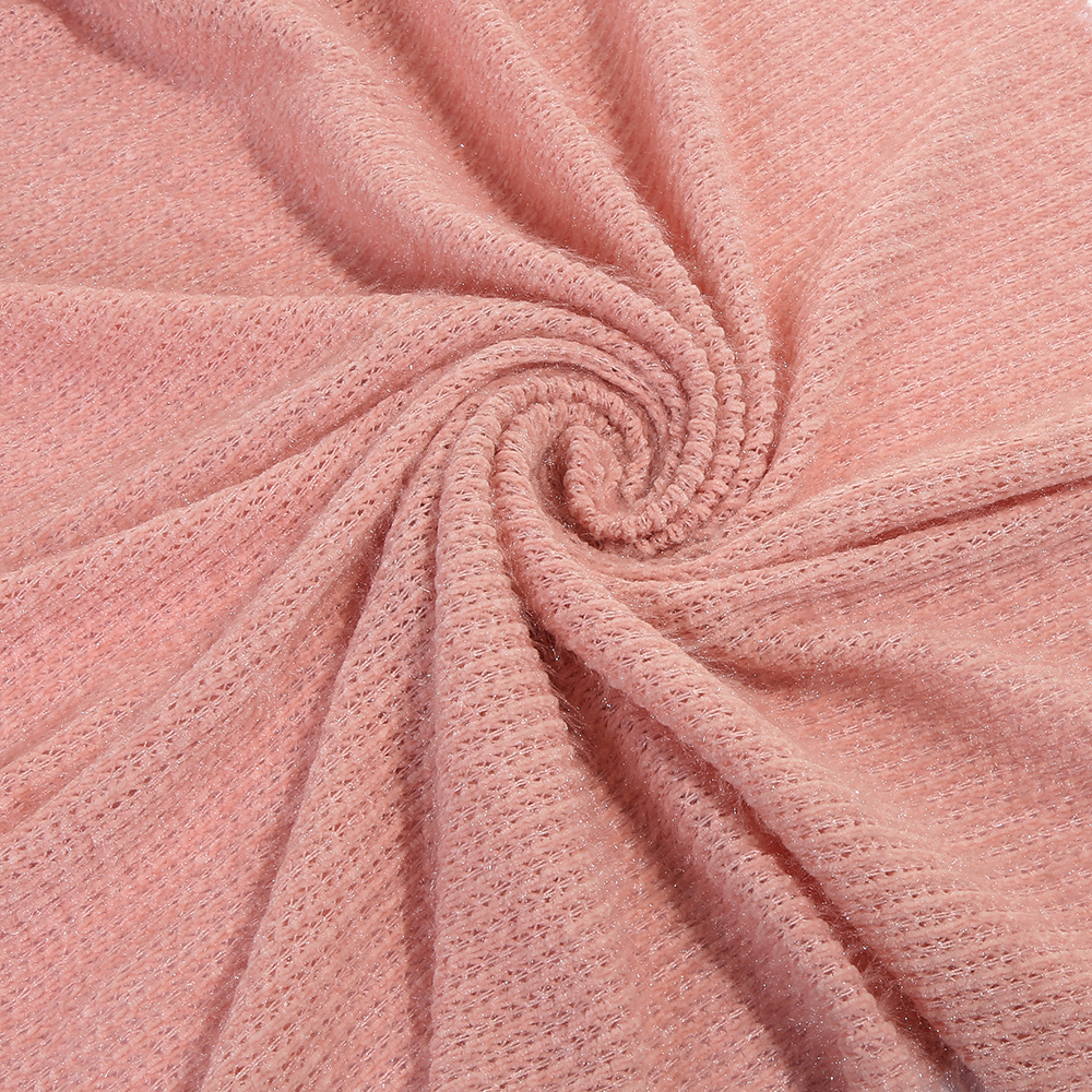 China factory price pure pink color 100 polyester chenille hair fabric for ladies wear