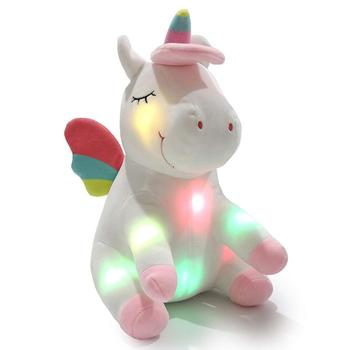 Light up Stuffed Unicorn Soft Plush Toy with LED Night Lights Glow in Dark Ideal Gifts for Girls at Christmas Birthday Valentine