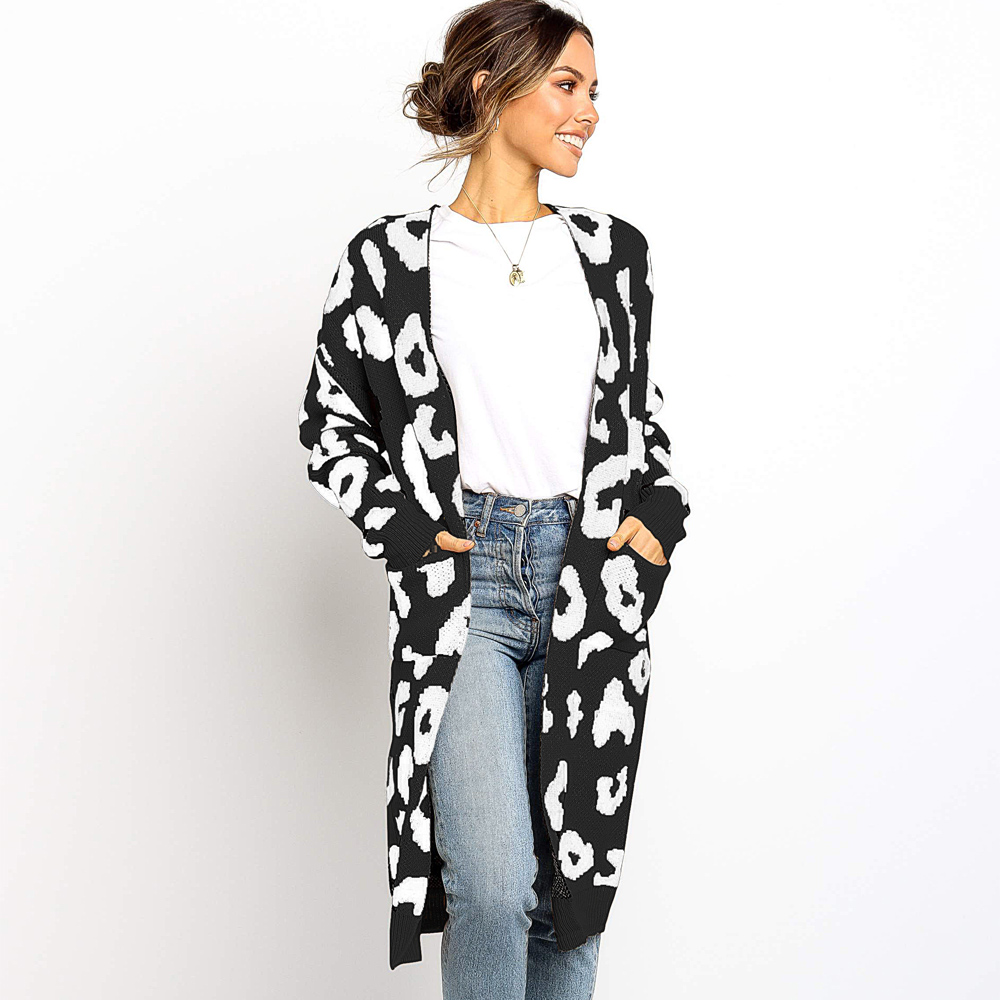 Amazon Hot Sales Women's Long Sleeves Polka Dot Leopard Print Knitting Cardigan Open Front Warm Sweater Coats with Pocket