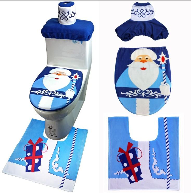 Необычные рождественские украшения 3 шт., чехол на сиденье унитаза счастливого Санты с ковриком, пальто, чехол для унитаза