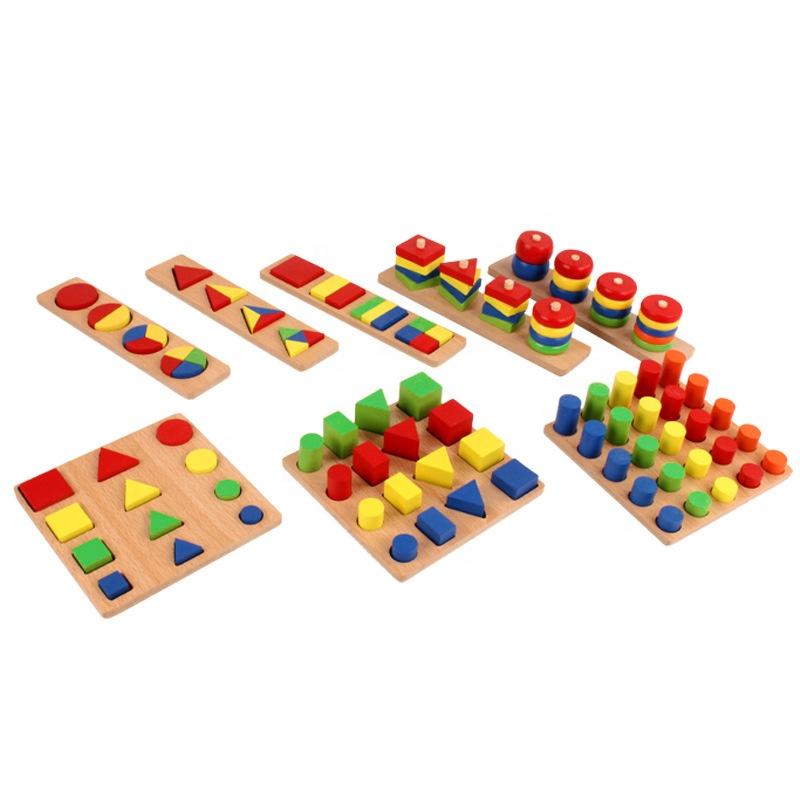 Оптовая продажа, деревянные геометрические развивающие игрушки Монтессори для раннего развития, деревянные сортировочные игрушки Монтессори