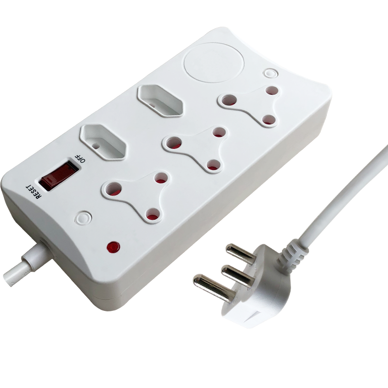 5 way South African type surge protected power strip with USB Multiple sockets