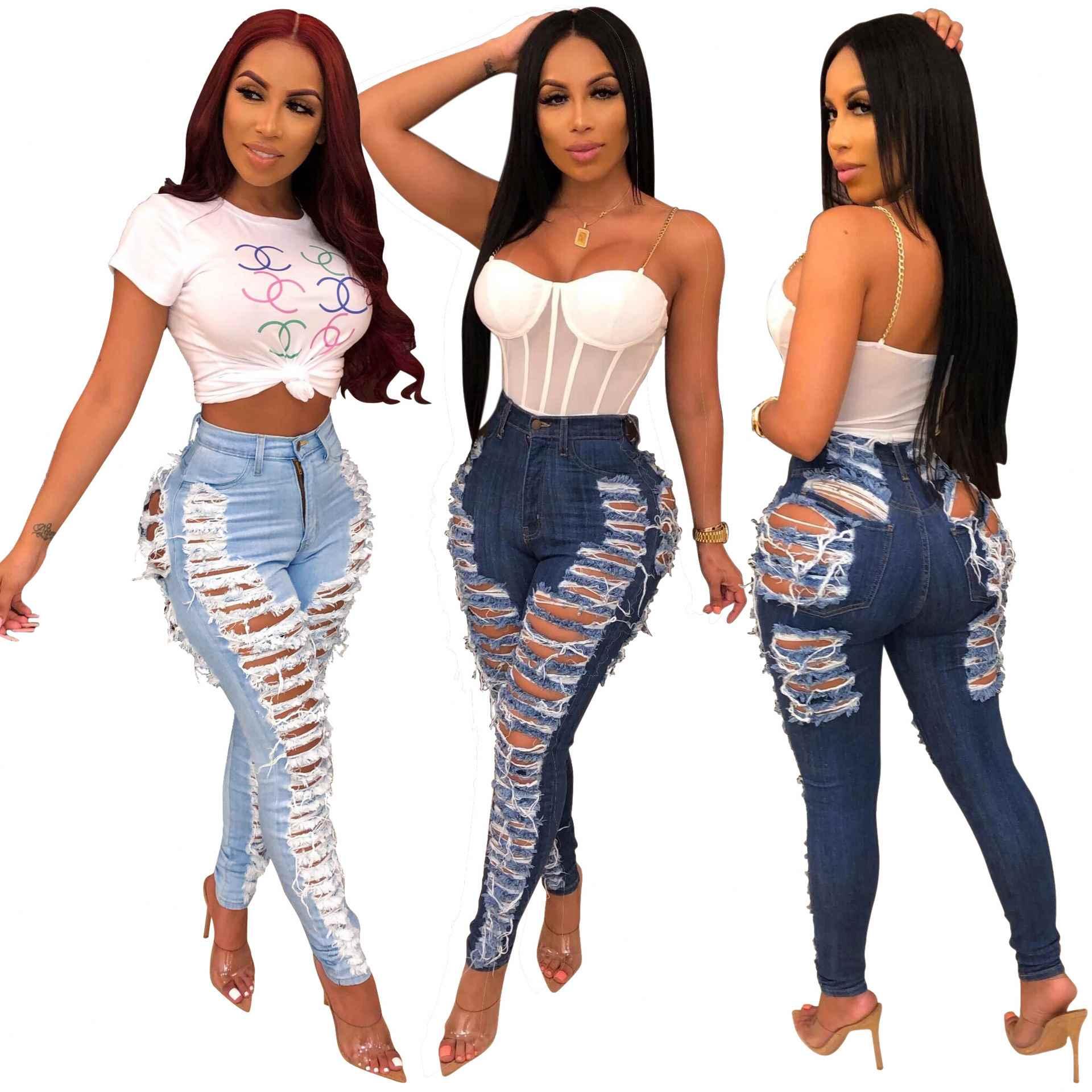 Pantalones Vaqueros Elasticos Ajustados Para Mujer Pantalon De Pierna Pequena Sexy Para Antes Y Despues Del Agujero Buy Jeans Mujer Pantalones Jeans De Mujer Product On Alibaba Com