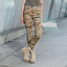 Уличные спортивные повседневные брюки, тонкие эластичные тактические брюки CS для женщин-(полицейский черный камуфляж) XL(Китай)
