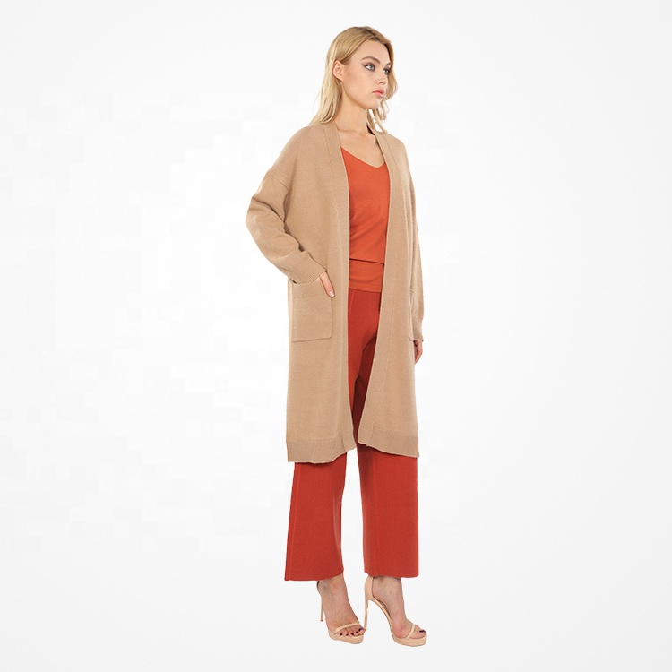 Newest design casual long cardigan women's knitted sweater with pocket