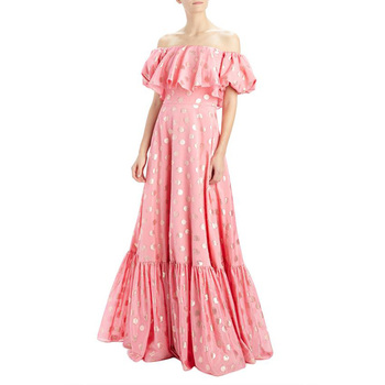 Luxury Custom Design Short Sleeve Off Shoulder Elegant Casual Women Dress Sexy Long Maxi Woman Cocktail Pink Dress Party