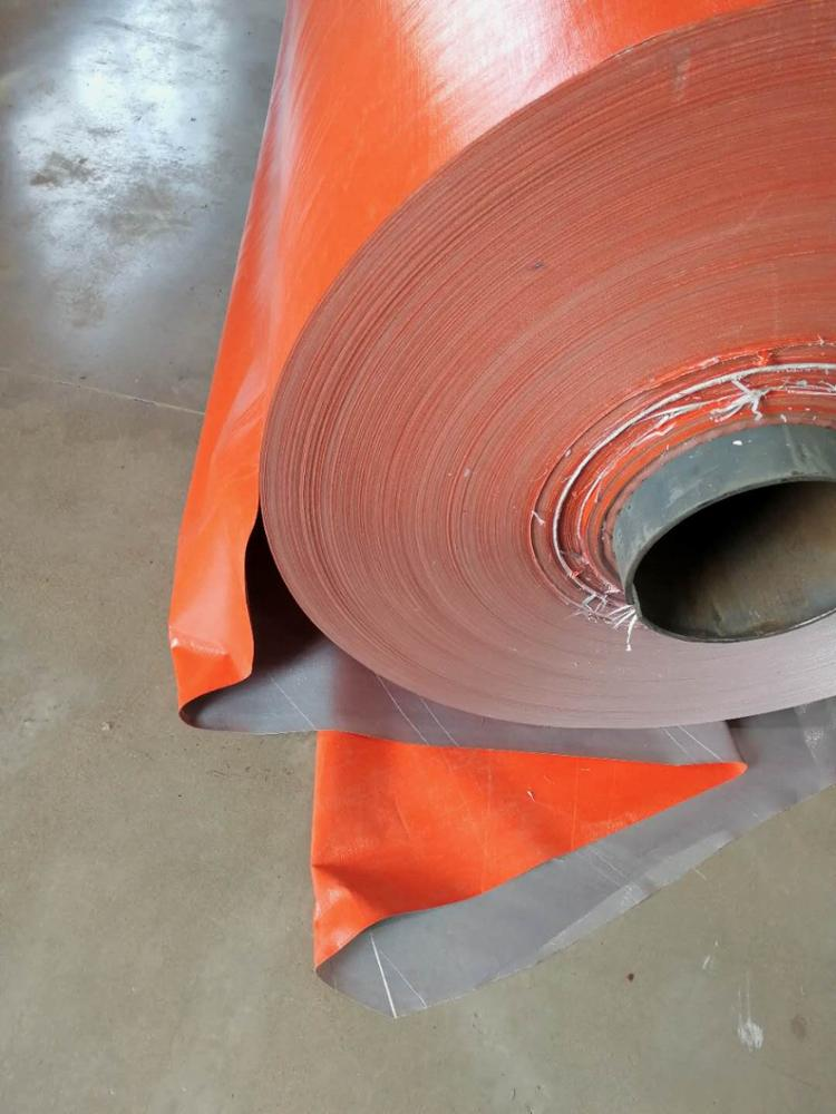 4x100m PE Coated Tarpaulin fabric orange/silver roll