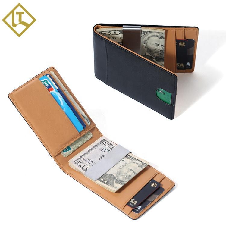Full Grain Genuine Leather Mens Front Pocket RFID Slim Wallet Credit Card Holder RFID Leather Card Holder Money Clip