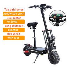 Более 100 км Электрический скутер для взрослых с сиденьем 60 в 3200 Вт складной Ховерборд 60 в 36ач 11 дюймов шины длинный скейтборд e скуте CE(Китай)