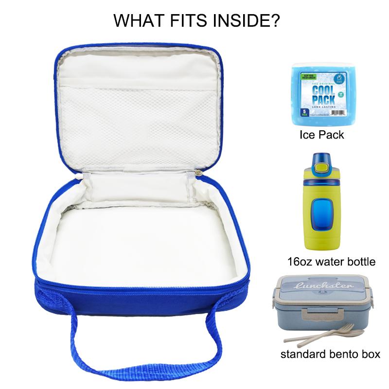 Рекламные многоразовые Экологически чистые Водонепроницаемые термоизолированные милые школьные детские Мультяшные синие сумки-холодильники для ланча с логотипом на заказ