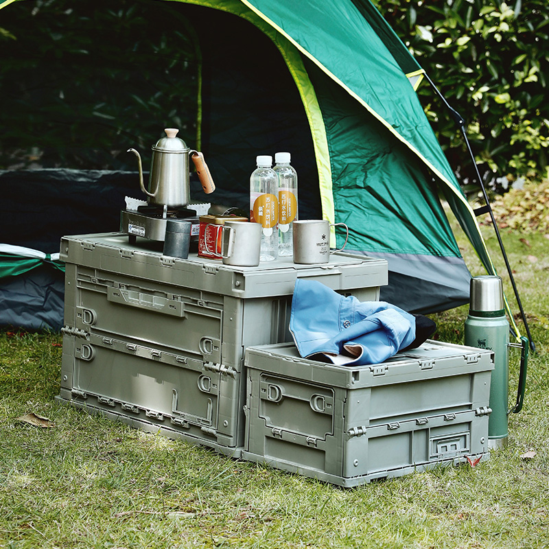 SHIMOYAMA Clever Made Collapsible Versatile Mega Foldable Plastic Outdoor Camping Storage Bin Box Kits With Moving Tray