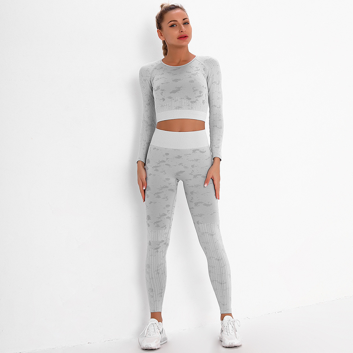 high quality women long sleeve jacquard yoga jacket sets ladies fitness top and leggings 2 piece