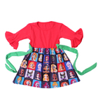 Wholesale children frock design for winter long ruffle sleeve dress with waist bow cartoon fashion skirts princess dress