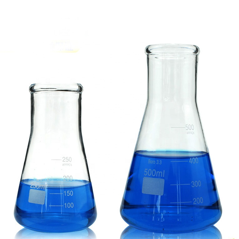 Laboratory Borosil Glass 250ml Conical Flask With Wide Neck