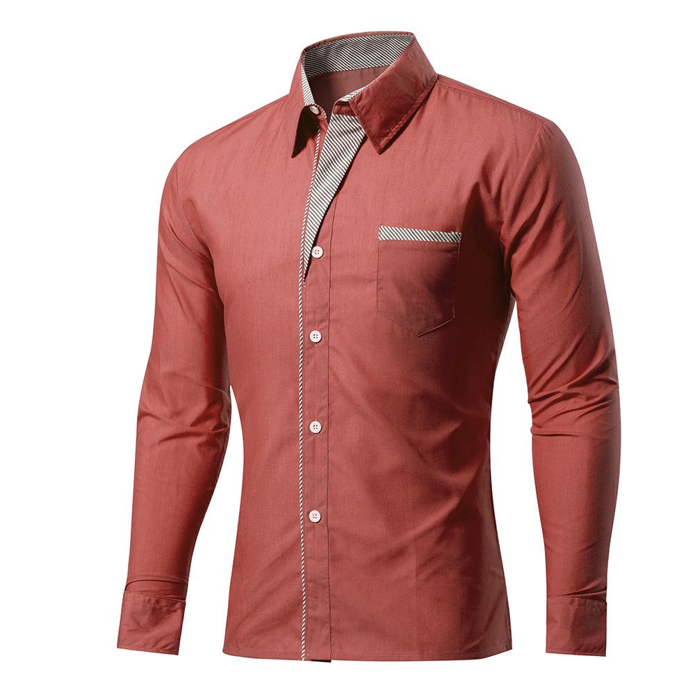 Solid color multi-color t shirt men slim fit mens long sleve shirts men's shirts