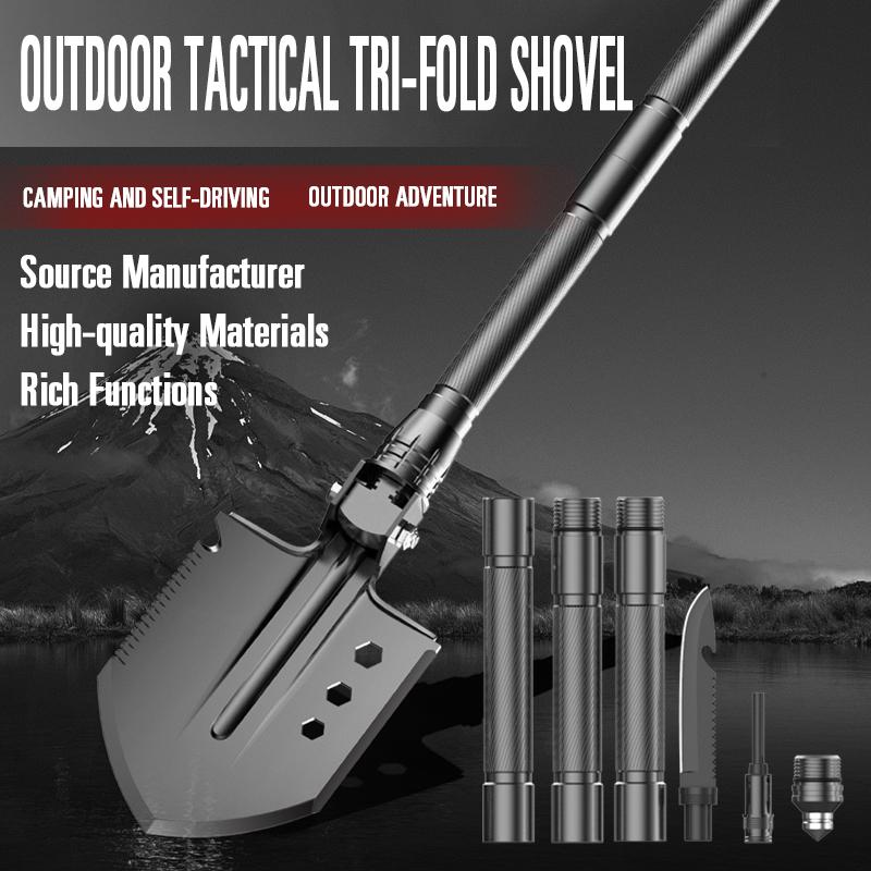 Black Anodizing Multifunction Portable Foldable Camping Survival Shovel