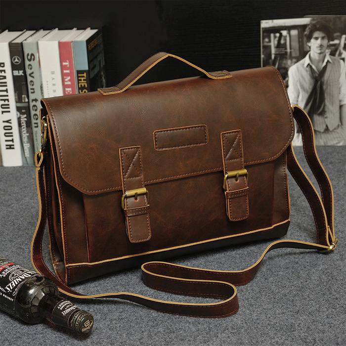 Водонепроницаемая деловая сумка для ноутбука, сумка через плечо, кожаный портфель для мужчин с индивидуальным логотипом