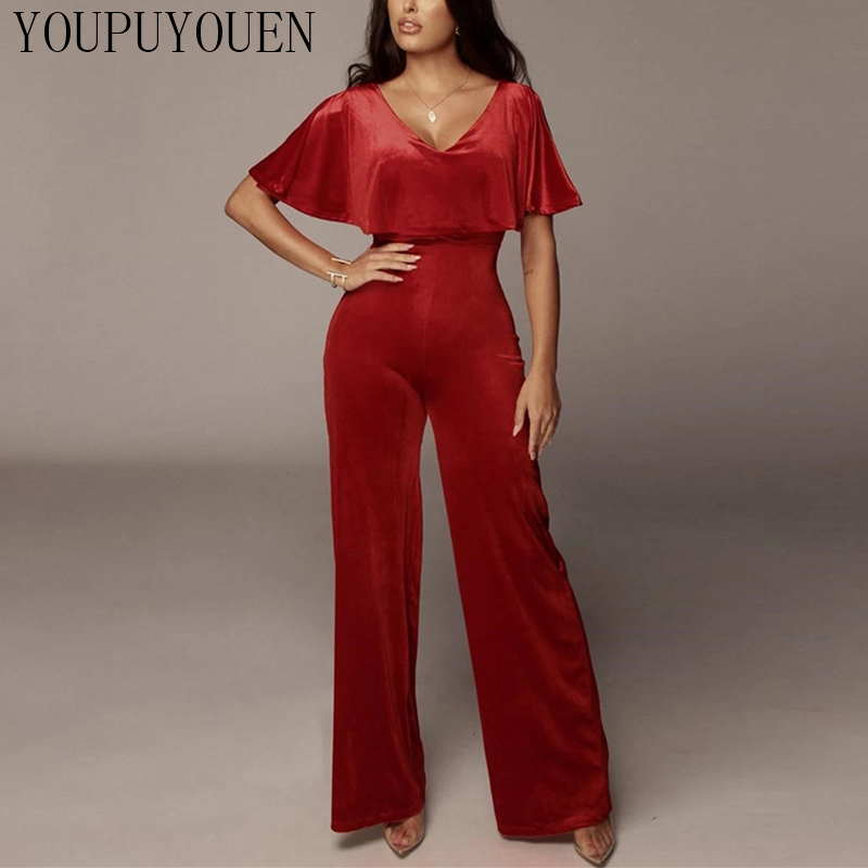Бархатный комбинезон с широкими штанинами, сексуальные длинные штаны с открытыми плечами, комбинезоны, элегантный клубный костюм с v-образн...(Китай)