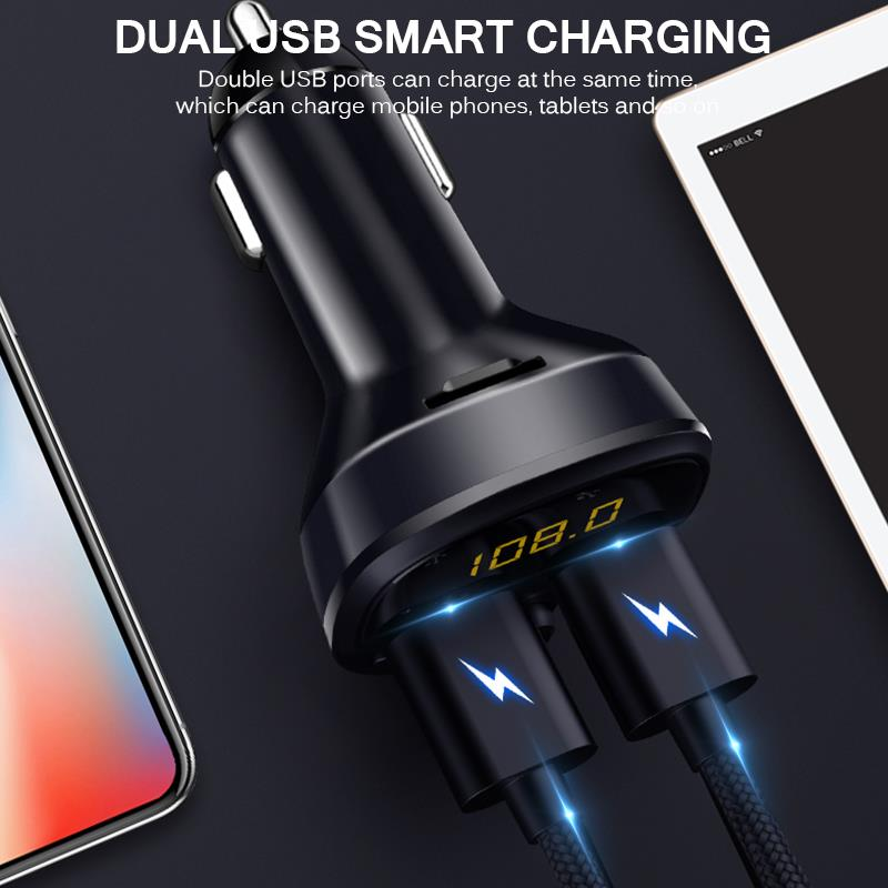 2021 Amazon hot sell Auto Mp3 Player Music Adapter dual USB car charger Bluetooth handsfree Car kit FM Radio transmitter