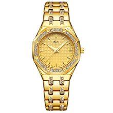 MISSFOX модные часы Для женщин дорогой 18K Золотые женские наручные часы Для женщин кварцевые классические аналоговые Ювелирные изделия с алмаз...(Китай)