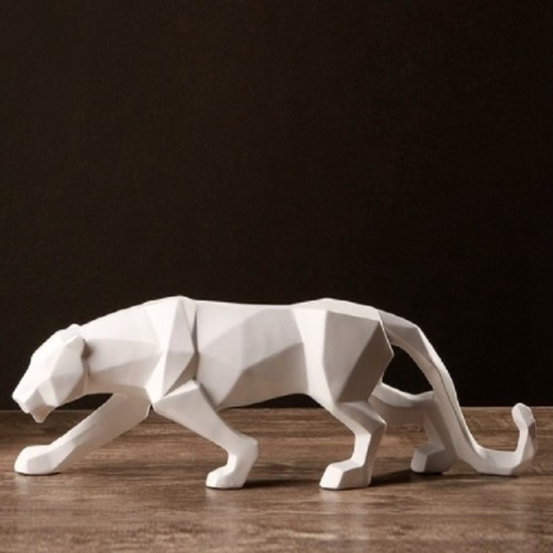 Black Nordic Animal Figurine Abstract Leopard Decoration Resin Crafts Statue For Home Bedroom Office