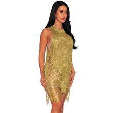 Золотая блестящая сетка сексуальное прозрачное платье с коротким рукавом, серебро, модная женская одежда, женские платья, женская одежда кр...(Китай)