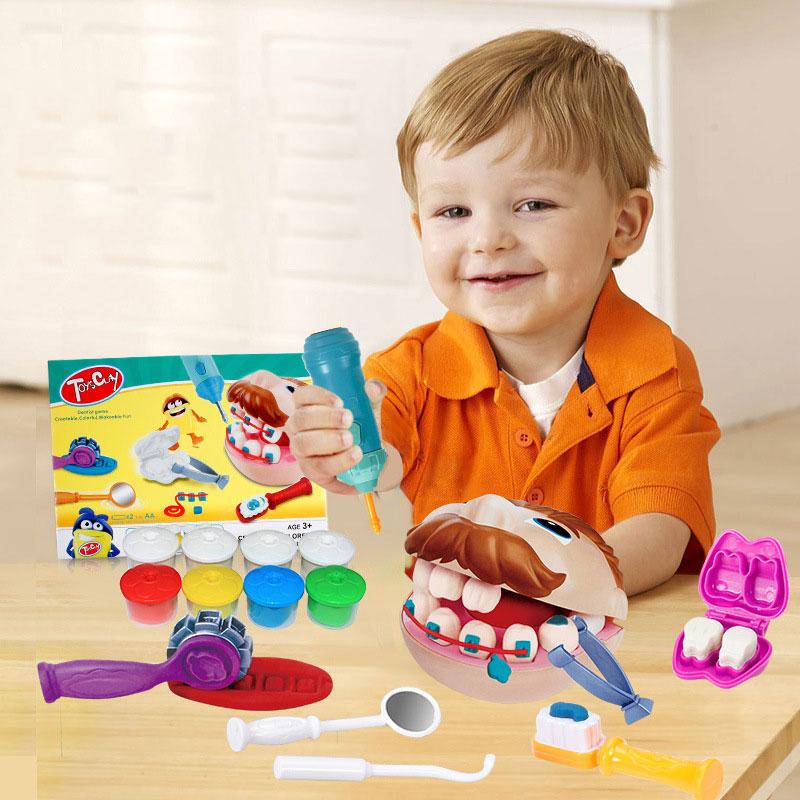 Оптовая продажа, мода 2020, новинка, Забавный Пластилин «сделай сам», стоматологические докторские игрушки, развивающий набор для детей
