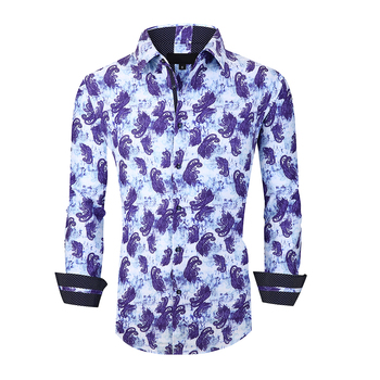 New Arrival Regular Fit 100 % Cotton long Sleeve Men Custom Print Shirts for Sale