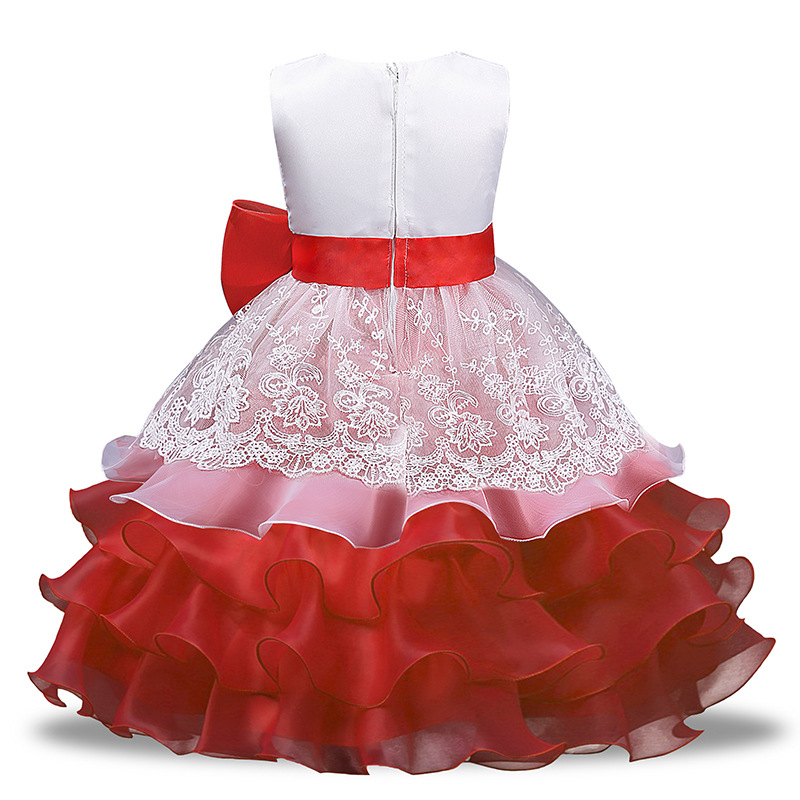 Professional Manufacture High Grade Design baby Toddler Kids Girls party Bow Lace Puffy Dress