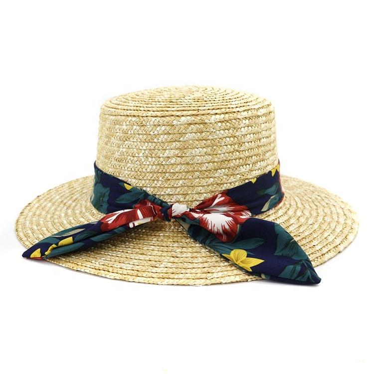Hot Sale Quality Women Handmade Wheat Straw Hat Wide Brim Leisure Beach Straw Boho Printing Ribbon Lady Fedora Boater Hat