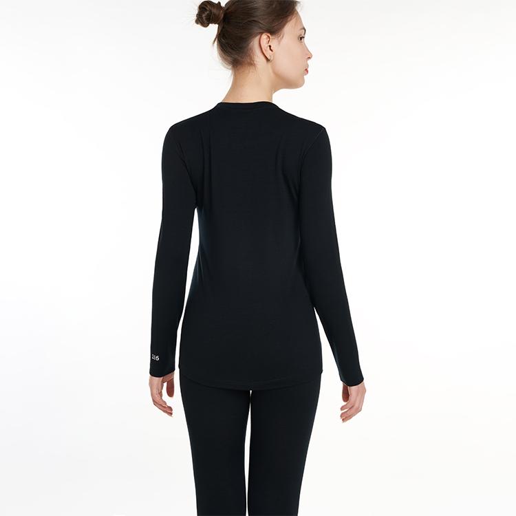 Ready To Ship Low MOQ Black Ladies Long Johns 100% Merino Wool Women'S Long-Sleeve Crewneck Womens Thermal Underwear