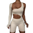 Rompers Skinny Fitness Womens Bodysuits 2020 Asymmetrical Solid Jumpsuit Elastic High Waist Women 1 Piece Jumpsuits And Rompers
