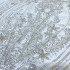 Dress Beads And Sequins Embroidered Elegant And Decent White Wedding Dress Fabric