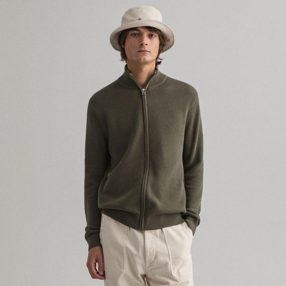 Guoou Knitwear Wholesale Factory High quality Warm Knit Fashion Men  cotton men's Custom zipper sweater